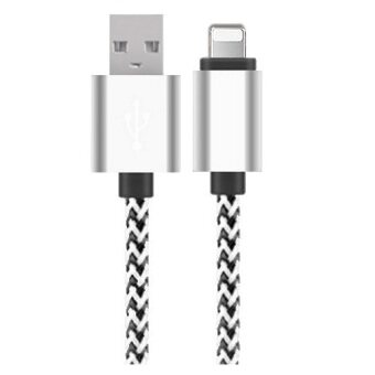Harga 1 Meter Nylon Braided USB Cable For ios Phone Cable with Lightning Connector Sync&Charge Cable For iphone ipad iPad Pro ipod (Silver)