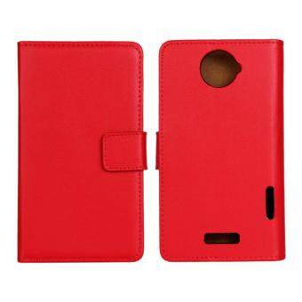 Harga Genuine Leather Wallet Case Cover for HTC One X (Red)