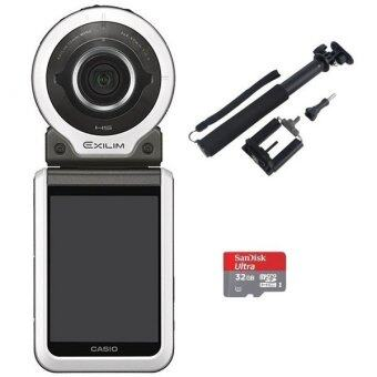 Harga Casio FR100 Action Camera (White) + Sandisk Ultra MicroSD 32GB + Monopod