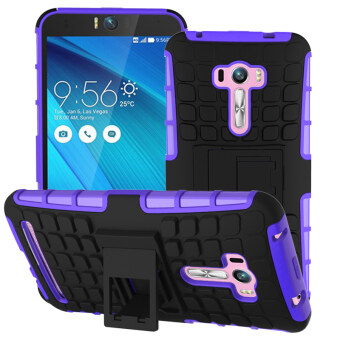 Harga Moonmini Tire Stripe Hybrid Combo Body Armor Shockproof Case for ASUS Zenfone Selfie ZD551KL (Purple)