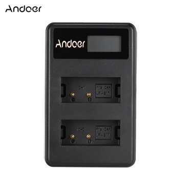 Harga Andoer Mini Portable Dual Slot LCD Screen USB charger for Canon LP-E17 DSLR