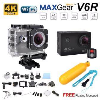 Harga MAXGear V6R 4K 30fps Remote 16M Sport Action Camera Waterproof WiFi Upgraded V4 V5 Sony FREE Monopod-Black