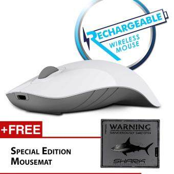 Harga Alcatroz Air Shark 2.4G Wireless Mouse Free Mousemat (White/Grey)