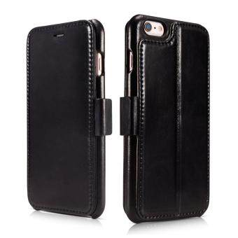 Harga For iPhone 6s Leather Case, Icarercase Premium iPhone 6 Genuine Leather Wallet Style Case 2 Card Slot Stand Feature with Magnetic Closure, Vintage Folio Flip Cover for Apple iPhone6 4.7Inch (Black)