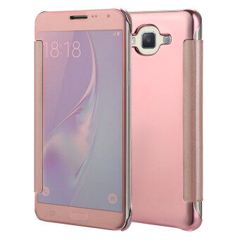 Harga TKOOFN Mirror Pure Color Shockproof Case Cover Folio For Samsung Galaxy J7(2015 Version)-Rose Gold