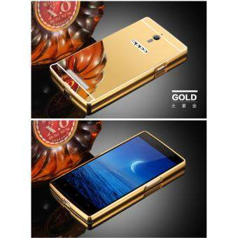 Harga Metal mirror border Back Case Cover For Oppo Find 7 / Oppo Find X9007 (gold)