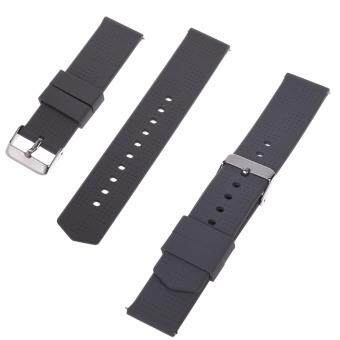 Harga Lightning Power-2pcs (18mm, 20mm, 22mm) Quick Release Silicone Rubber Soft Watch Bands Watch Strap(Gray)