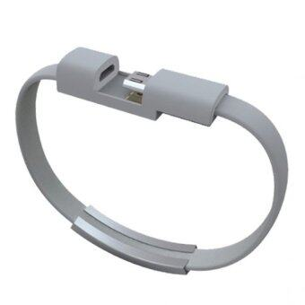 Harga Micro USB Cable Bracelet Data Charging Line Wristband for Android Smartphone (Grey)
