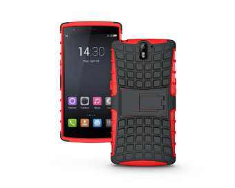 Harga Hybrid Dual Layer Tough Heavy Duty Protetion Shockproof Protective Kickstand Cover Case for OnePlus 1 / OnePlus one / One Plus one (Red)