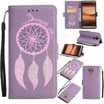 Harga Premium Embossed Wind Chimes PU Leather Wallet Folio Flip Cases with Detachable Wrist Strap Card Slots Kickstand Function Cover Case for Huawei Mate 8