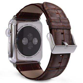 Harga 42mm Premium Genuine Leather Crocodile Pattern Watch Band for Apple Watch iWatch (Brown)