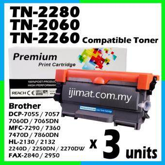 Harga 3 Units Compatible Laser Toner Brother TN2060 / TN2260 / TN2280 Toner Cartridge For Brother HL-2130 / DCP-7055 / HL-2240D / HL-2250DN / HL-2270DW / DCP-7060D / MFC-7360 / MFC-7860DW / FAX-2840 Printer
