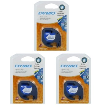 Harga 3 X DYMO Black on White LetraTag Plastic Tapes Personal Label Maker