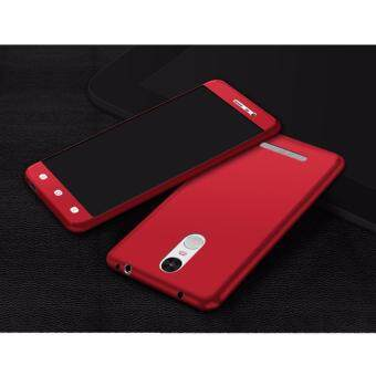 Harga 360 Degree Full Body Protection Cover Case With Tempered Glass for Xiaomi Redmi Note3 (Red)