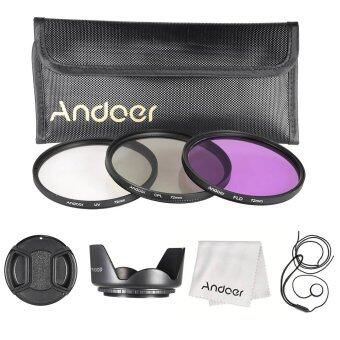 Harga Andoer 72mm Filter Kit (UV+CPL+FLD)/Nylon Carry Pouch/Lens Cap/Lens Cap Holder/Lens Hood/Lens Cleaning Cloth