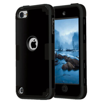 Harga TKOOFN Heavy Duty Hybrid Color 3 in 1 Shockproof Smart Case Cover For iPod Touch 5(Black+Black)