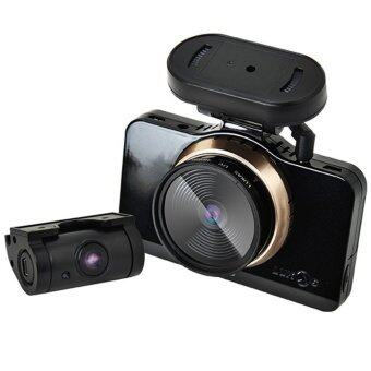 Harga LUKAS LK-9750 DUO Blackbox Car Video Recorder 2CH Full HD Dual Save 8GB+32GB SD Card (Black)