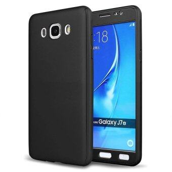Harga 360 Degree Full Body Hard PC Protective Back Case With Tempered Glass For Samsung Galaxy J7 2015 (Black)