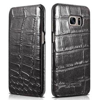 Harga ICARER [Alligator Pattern] Flip Case Folio Cover Premium Corrected Genuine Leather Wallet Case for Samsung Galaxy S7 Edge (Black)