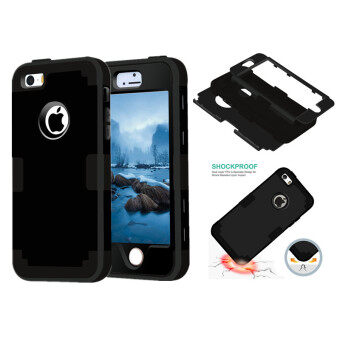 Harga TKOOFN Heavy Duty Hybrid Color 3 in 1 Shockproof Smart Case Cover For iPhone 5/5s/SE (Black+Black)