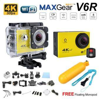 Harga MAXGear V6R 4K 30fps Remote 16M Sport Action Camera Waterproof WiFi Upgraded V4 V5 Sony FREE Monopod-Yellow
