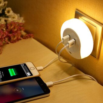 Harga 2 in 1 Intelligent Control LED Night Light & mobile Double Usb Charger Creative Home Bedside lamp