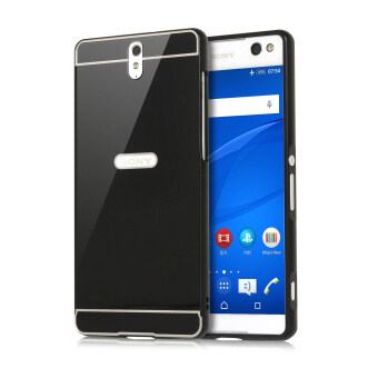 Harga Moonmini Metal Bumper Frame with Hard PC Back Case for Sony Xperia C5 (Black)