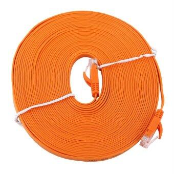 Harga RJ45 CAT6 Ethernet Network Flat LAN Cable UTP Patch Router Cables 1000M (Orange 10meters)