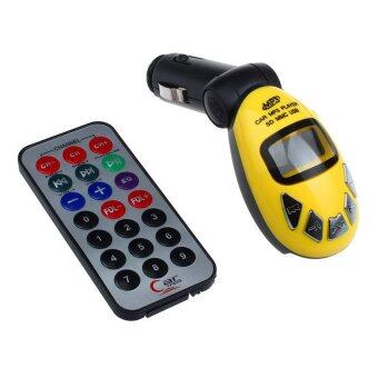 Harga LCD Wireless FM Transmitter Car Kit MP3 Player Support USB SD MMC Slot Yellow