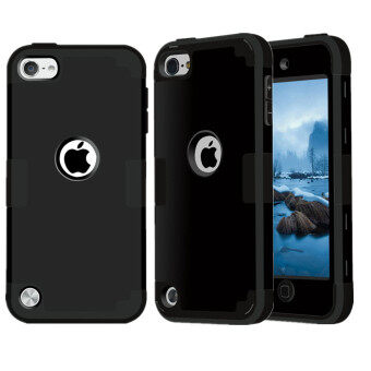 Harga TKOOFN Heavy Duty Hybrid Color 3 in 1 Shockproof Smart Case Cover For iPod Touch 6(Black+Black)