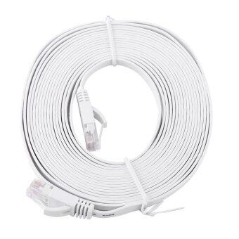 Harga RJ45 CAT6 Ethernet Network Flat LAN Cable UTP Patch Router Cables 1000M (White 5meters)