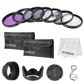 Harga Andoer 49mm Filter Kit (UV+CPL+FLD)/Nylon Carry Pouch/Lens Cap/Lens Cap Holder/Lens Hood/Lens Cleaning Cloth