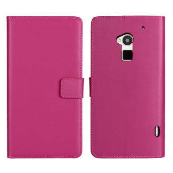 Harga Moonmini Genuine Leather Flip Stand Cover for HTC One Max T6 (Hot Pink)