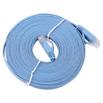 Harga RJ45 CAT6 Ethernet Network Flat LAN Cable UTP Patch Router Cables 1000M (Blue 5meters)