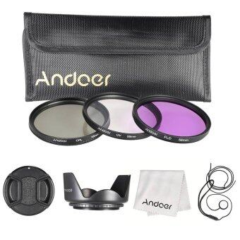 Harga Andoer 58mm Filter Kit (UV+CPL+FLD)/Nylon Carry Pouch/Lens Cap/Lens Cap Holder/Lens Hood/Lens Cleaning Cloth
