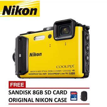 Harga Nikon Coolpix AW130 Digital Camera (Yellow) + 8GB SanDisk SDHC Card + Nikon Casing (ORIGINAL NIKON MALAYSIA)