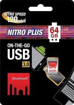 Harga STRONTIUM NITRO PLUS 64GB 130MB/S ON-THE-GO (OTG) USB 3.0 FLASH DRIVE