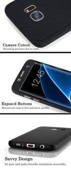 Harga 360 Full Body Coverage Protection Hard Slim Ultra-thin Hybrid Case Cover with Tempered Glass Screen Protector for Samsung Galaxy S7 (Black)