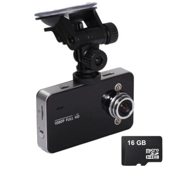 Harga K6000 HD DVR Advanced Portable 2.4 DVR Car Recorder Camera Camcorder with 16GB Memory Card (Black)