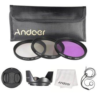 Harga Andoer 49mm Filter Kit (UV/CPL/FLD)/Nylon Carry Pouch/Lens Cap/Lens Cap Holder/Lens Hood/Lens Cleaning Cloth