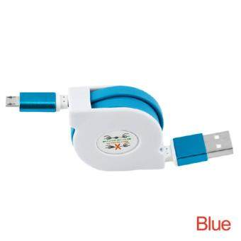 Harga 1M Retractable Flat Noodle Micro USB Cable Data Sync Phone Charging USB Cable for Most Android Smartphone SONY etc.
