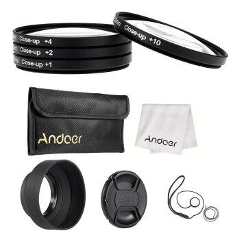 Harga Andoer 52mm Close-up Macro Lens Filter Set(+ 1 +2 +4 +10) with Lens Accessories