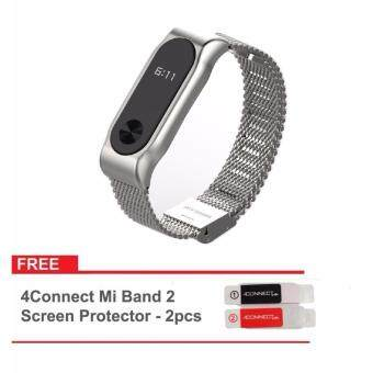 Harga Original Mijobs Metal Strap Band For MiBand 2 Wristbands Stainless Steel Bracelet For Xiaomi Mi Band 2 Replace For Mi Band 2 - Silver