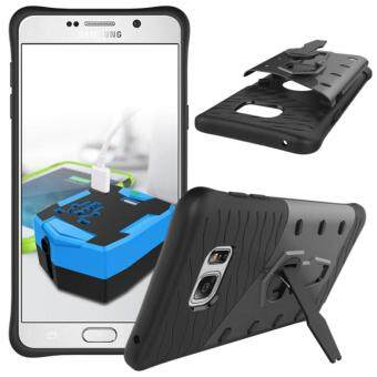 Harga Heavy Duty Shockproof Dual Layer Hybrid Armor Defender Full Body Protective Cover with 360 Degree Rotating Kickstand Case for Samsung Galaxy Note 5