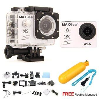 Harga MAXGear V6 4K 30fps Wifi 16M Sport Action Camera Waterproof Upgraded V4 V5 + FREE Floating Monopod - White