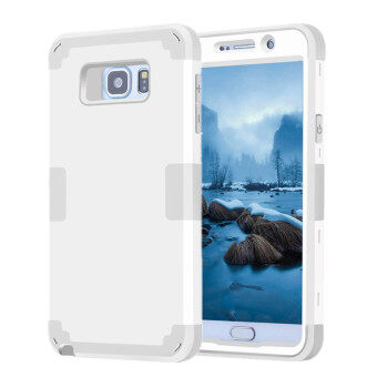 Harga TKOOFN Heavy Duty Hybrid Color 3 in 1 Shockproof Smart Case Cover For Samsung Galaxy Note 5(White+Grey)