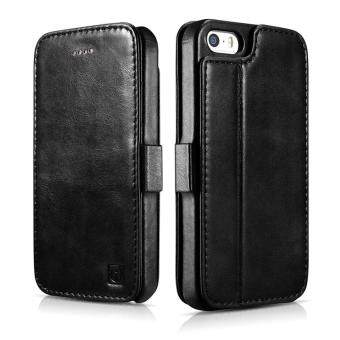 Harga For iPhone SE Leather Case, Icarercase Vintage Genuine Leather Side Open Wallet Cases with 2 Card-slots, Folio Flip Style with Magnetic Closure with Stand Function for Apple iPhone SE / 5s / 5 (Black)