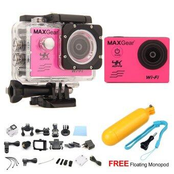 Harga MAXGear V6 4K 30fps Wifi 16M Sport Action Camera Waterproof Upgraded V4 V5 + FREE Floating Monopod - Pink