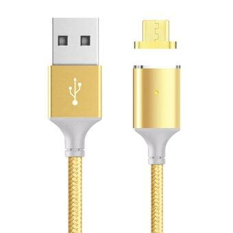 Harga Magnetic Cable,Nylon Braided Micro USB Magnectic Data Charge Cable Magnet Fast Charging Cable for Android Golden