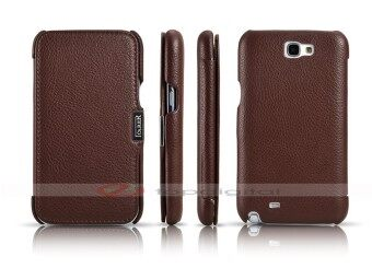 Harga icarer Luxury Genuine Leather Case for Samsung Galaxy Note 2 N7100 Side Flip Cover with Card Holder Slot (Brown)